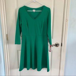 5/$25 NWT Merona Green A-line Longsleeve Dress
